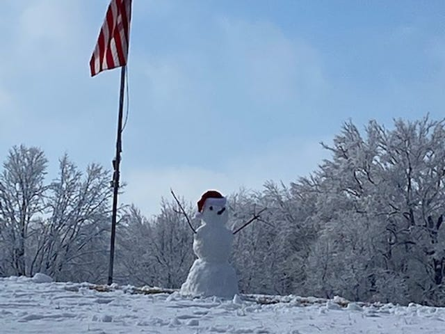 Courier reader Marilyn Meyer suggested a photo be included in the paper to recognize the hard work of those making a snowman at Kickapoo Creek Park in Lincoln. Meyer said she enjoyed seeing the work of art near the American flag.