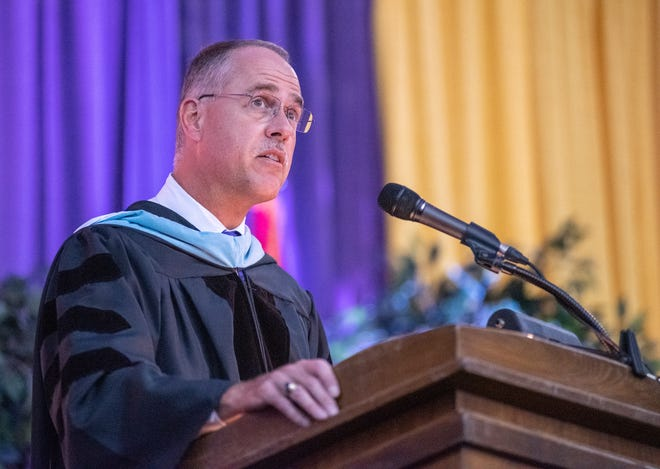 Camdenton R-III Superintendent Tim Hadfield is seen speaking at the 2020 graduation ceremony, which was delayed until July due to COVID-19.