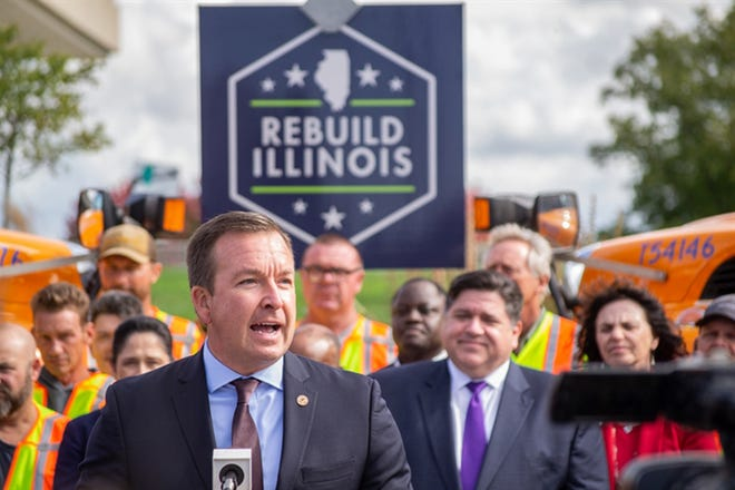 Sen. Andy Manar, D-Bunker Hill, appears at an event with Gov. JB Pritzker and others in 2019. He announced Monday he will be leaving the Illinois Senate to take a job in Pritzker's administration as a senior advisor.