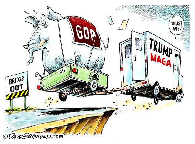 Dave Granlund cartoon on Trump and Republicans and the road ahead