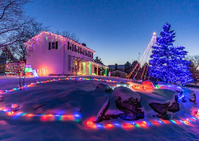 A brilliant display on the far end of Doe Haven's now-famous Christmas lights in Farmington, in an image by Finger Lakes Photography Guild member Joy Underhill.