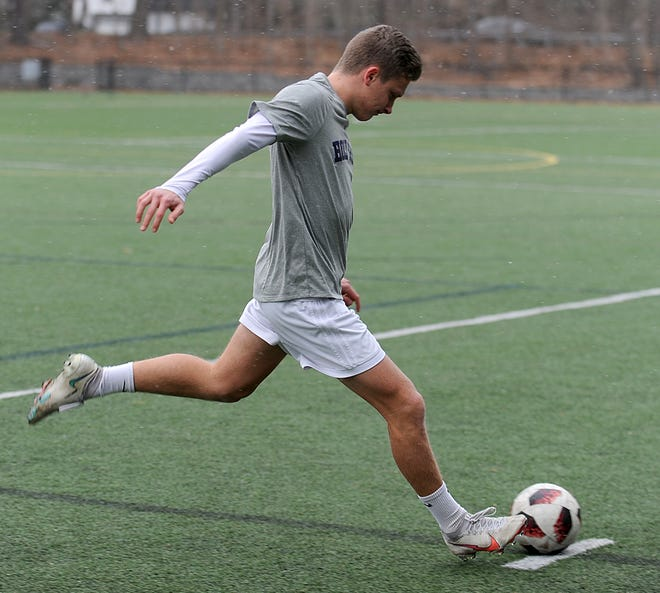 Jon Klein, of Natick, is a senior at Buckingham Browne and Nichols. Klein is committed to play soccer at the College of the Holy Cross. Here he's pictured at the Cole Center turf field in Natick on Jan. 5, 2021.