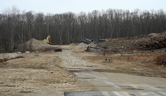 A cleared area at the end of Hopping Brook Road in Holliston, where a developer plans to build a 800,000-square-foot warehouse.