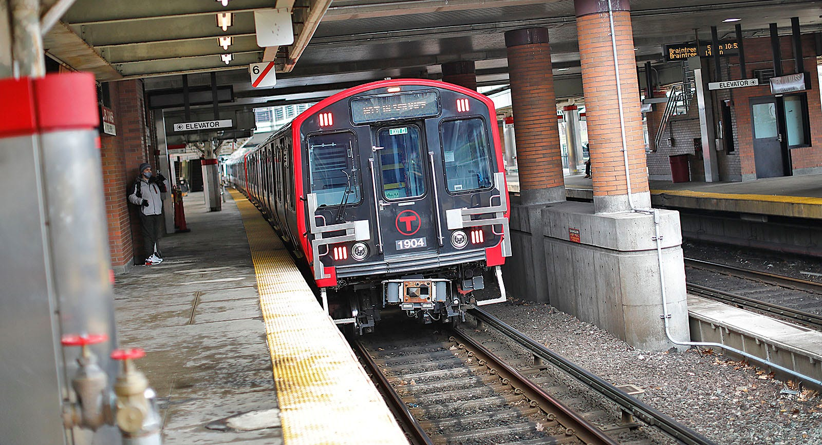New Red Line trains on the tracks at the JFK Station in Dorchester on Tuesday, Jan. 5, 2021. Greg Derr/The Patriot Ledger