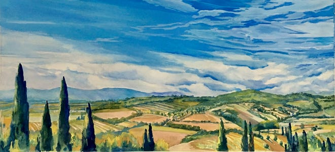 """""""Peace Conference Assisi,"""" a watercolor by Claudia Michael, winner of a 2020 Honorable Mention in the NHAA's annual Omer T. Lassonde juried exhibition."""