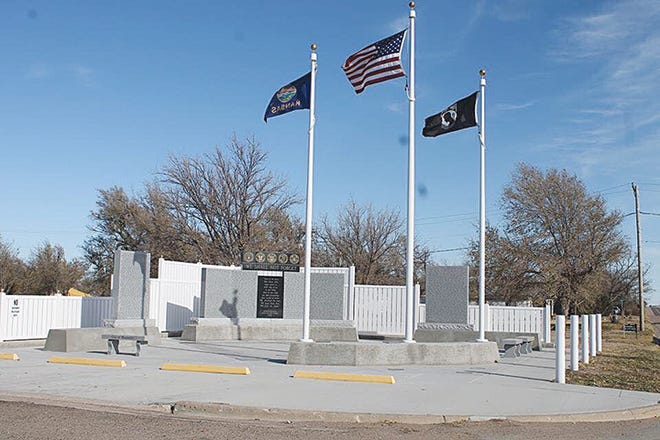 The Veterans Memorial in Mullinville was completed in 2013, but pavers to honor any Kiowa County veteran can still be purchased. The special monument stands at the corner of Main Street and U.S. Highway 54.