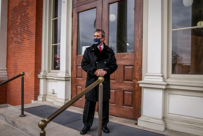 Mayor Picozzi after the swearing in ceremony. New mayor Frank Picozzi is sworn in a ceremony on the Warwick City Hall steps. Providence Journal / David DelPoio]