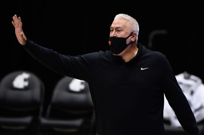 Oregon State men's basketball coach Wayne Tinkle is seen during the Beavers' Dec. 2 game at Washington State.