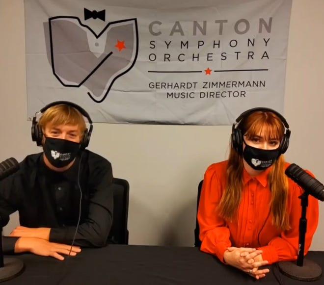 "Matthew Jaroszewicz and Rachel Hagemeier are co-hosts of the Canton Symphony's new weekly podcast ""Orchestrating Change,"" which debuts Friday."