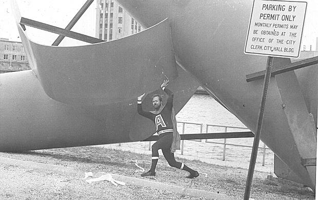 "Former Loves Park Alderman Dick Kulpa is pictured in costume as ""Alder-Man"" in 1983."