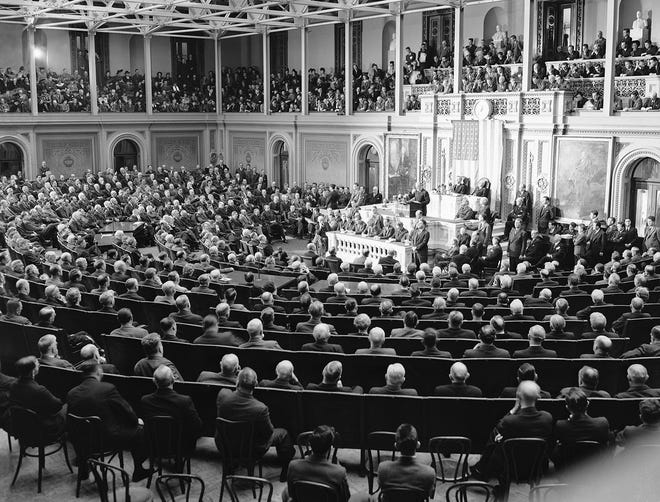 President Franklin Roosevelt  calls for vast production before joint session in the house chamber on Jan. 6, 1942.