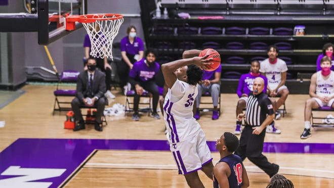 "Tarleton's Jonathan Jackson, a 6'6"" senior from Fort Worth, prepares to dunk the ball in this photo from earlier this season. The TSU men will host GCU for back-to-back weekend games on Friday and Saturday, the team's first games since Dec. 9 due to cancellations and postponements prompted by COVID-19."