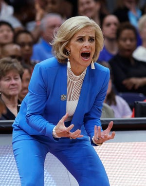 Baylor coach Kim Mulkey encourages her team during the first half against Notre Dame in the Final Four championship game of the NCAA women's college basketball tournament Sunday, April 7, 2019, in Tampa, Fla. (AP Photo/Chris O'Meara)