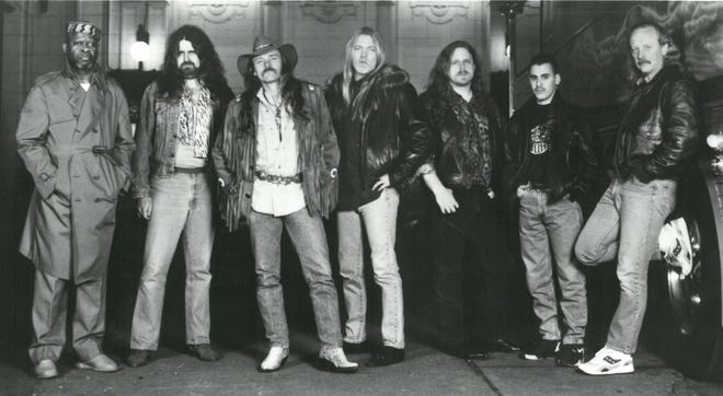 "The Allman Brothers Band in the 1990s, from left,  Jai Johanny ""Jaimoe"" Johanson, Allen Woody, Dickey Betts, Gregg Allman, Warren Haynes, Marc Quinones and Butch Trucks."