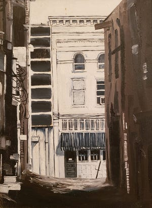 Bryan Jacobs' painting of the old Front Street News bar in downtown Wilmington, which closed in the early '90s to make way for Caffe Phoenix, also now closed. Platypus & Gnome is in the 9 S. Front St. space currently.