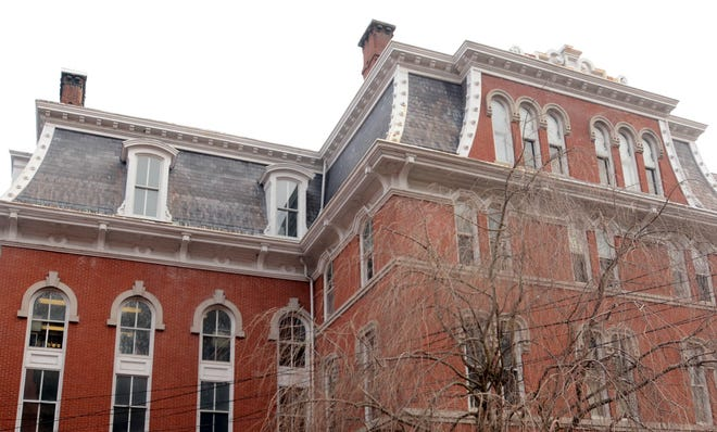 The slate roof on the 1873 Norwich City Hall is in need of repair. [John Shishmanian/ NorwichBulletin.com]
