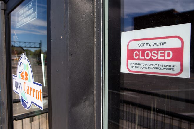 A closed sign is displayed at The Tipsy Carrot, 922 N. Kansas Ave., on April 21. The Tipsy Carrot was one of almost a dozen Topeka small businesses that closed in 2020.