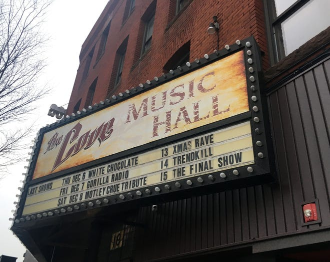 The Cove Music Hall, among the names of various clubs at 89 Green St., Worcester