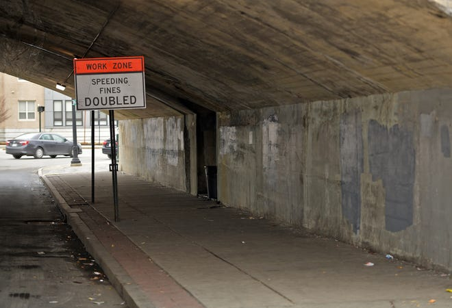 The area of the Green Street underpass and sidewalk had been cleaned up on Tuesday, a week after city employees and police went to the bridge.