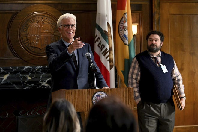 "Ted Danson, left, and Bobby Moynihan star in ""Mr. Mayor,"" premiering on Thursday."
