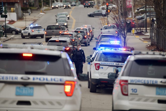 Police converged on May and Dewey streets in Worcester after a shooting on January 5.