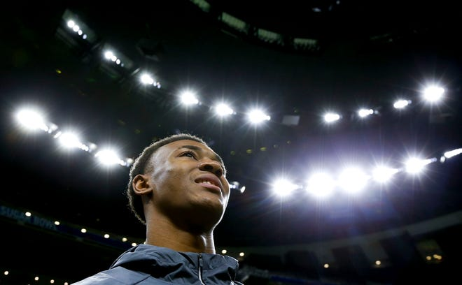 Alabama wide receiver DeVonta Smith (6) speaks to the media during media day at the Mercedes-Benz Superdome Saturday, Dec. 30, 2017. [Staff Photo/Gary Cosby Jr.]