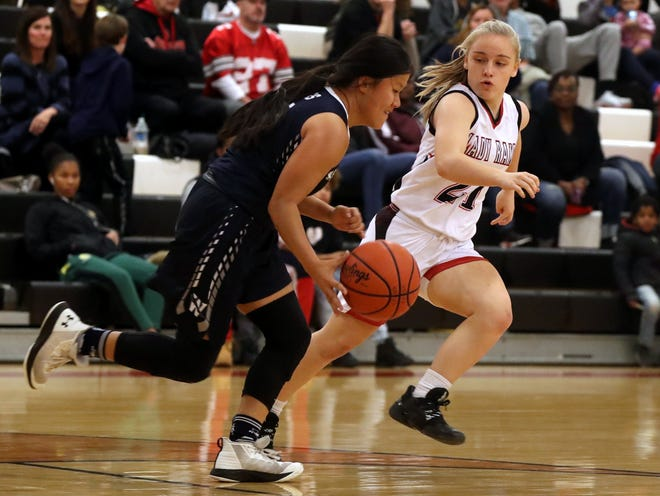 """BrooklynnGreer (right) and the Whitehall-Yearling girls basketball team got out to a slow start, but coach Quentin Taylor said the Rams have time to improve. """"We have to be ready for the (Division II district) tournament,"""" he said."""