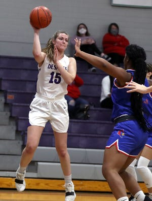 """Although it's her ability to take charges that often gets noticed, senior Gracie Sabo has become a key player for DeSales in multiple ways. """"Everything she does is so crucial to the team. On both the offensive and defensive ends of the floor, she's our catalyst. She propels what we do,"""" coach Erick Herzberg said."""