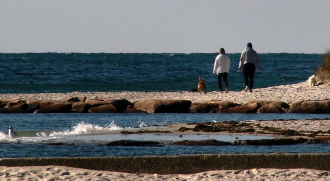 A breezy day along Red River Beach in Harwich Port.