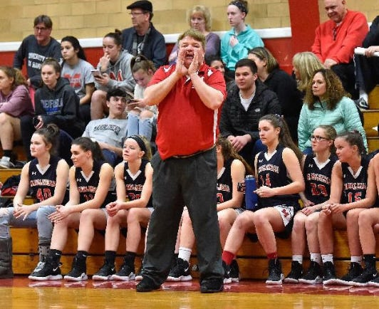 Marblehead girls' basketball coach Paul Moran is shown calling out the next play during a Division 2 North state tournament game against Saugus at Saugus High School on Monday, Feb. 25, 2019. Moran once called the Towers Gym home, when he was in charge of the Sachems' boys hoop program, and was ably assisted by Mark Bertrand. Bertrand, who passed away on Dec. 11, starred on the team in the early 1980s, and became its head coach after succeeding Moran in 2018. Moran also coached the Danvers High School girls' basketball team, before his Saugus tenure.