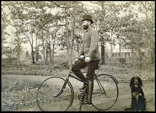 Needham's naturalist, Timothy Otis Fuller, off for a ramble to explore Needham's plant life on his 1890 Singer bicycle.