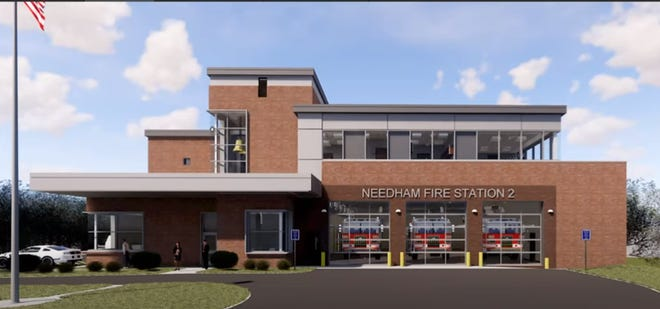 Drawings shown to the Needham Permanent Public Building Commission show a historic bell hung prominently above the entrance to the building.
