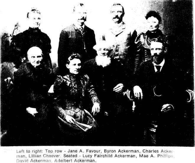 Shown are members of the Ackerman family circa 1890, near Butler County in Iowa.