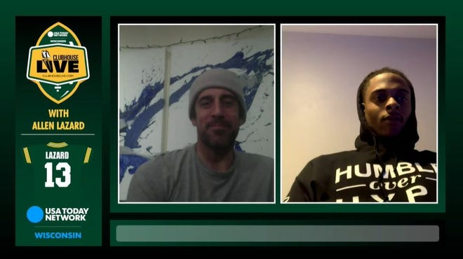 Green Bay Packers quarterback Aaron Rodgers (left) and wide receiver Davante Adams (right) were the guests on Monday's Clubhouse Live. Packers wide receiver Allen Lazard co-hosted the show.