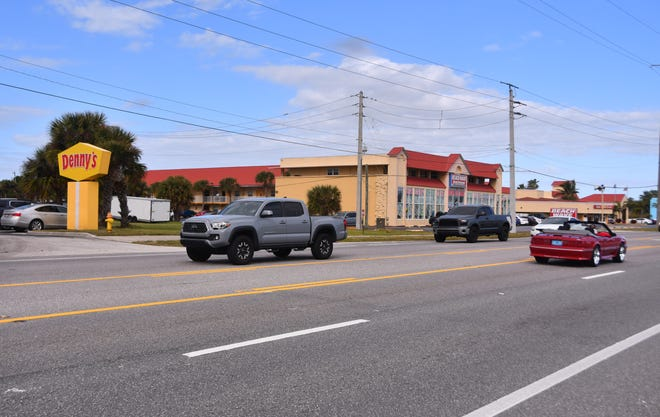 Cocoa Beach motorists drive on State Road A1A north of Denny's and south of Tulip Lane, where the Florida Department of Transportation plans to install a mid-block crosswalk.