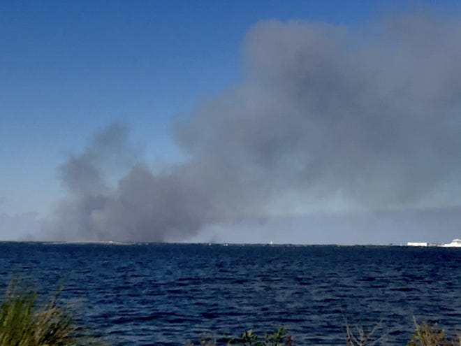 Large controlled burn being conducted in Merritt Island National Wildlife Refuge.