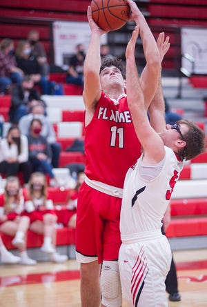 Mansfield Christian's Logan Cyphers scored 19 and 18 in two wins for the Flames over Kingsway Christian and Crestline.
