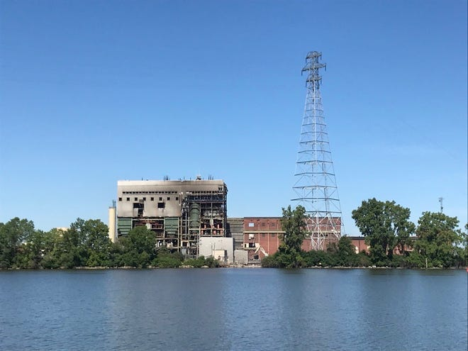An August 2020 photo of the former Pulliam Power Plant buildings. Wisconsin Public Service Corp. has been dismantling the power plant on the site since October 2018.
