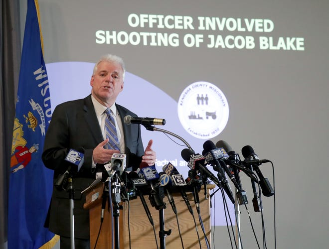 Kenosha County District Attorney Michael Graveley speaks at a news conference at the Brat Stop Parkway Chateau, 12304 75th St., Kenosha, where he announced no charges would be filed against the Kenosha Police Officer Rusten Sheskey, who shot Jacob Blake seven times in August. Graveley also did not charge the two other Kenosha officers who were present when Blake was shot, Brittany Meronek and Vincent Arenas.
