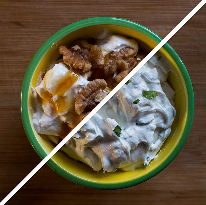 Greek yogurt as a breakfast with honey and walnuts, top, and as a accompaniment for lamb with garlic and mint.