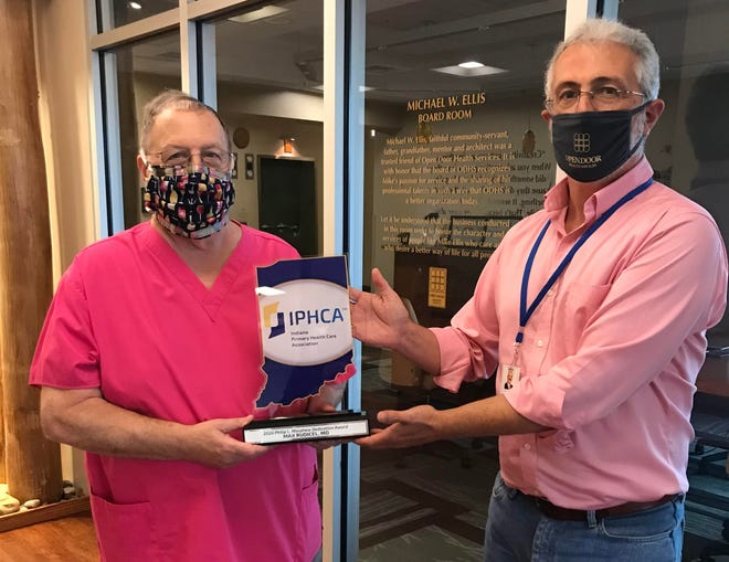 Max Rudicel, Open Door's chief medical officer, is presented with the the the Indiana Primary Health Care Association's 2020 Philip L. Morphew Health Center Advocate award.