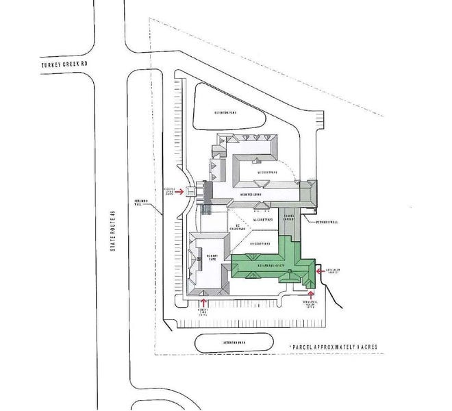 Proposed site plan for the Natchez Center for Behavioral Medicine in the City of Dickson.