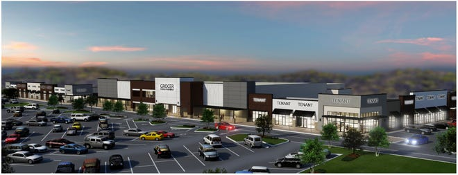A rendering of the commercial portion of the Shops at Windsong that will be anchored by Publix.