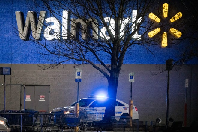 Metro Nashville police officers respond to a report of a suspicious box at the 7044 Charlotte Pike Walmart in Nashville, Tenn., Monday, Jan. 4, 2021.
