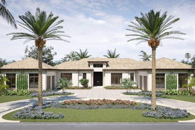 An artist's rendering of the front exterior of Diamond Custom Homes' new model home now under construction in Quail West Golf & Country Club.