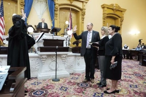 Jay Hottinger, R-Newark, sworn in Monday as president pro tempore of the Ohio Senate.