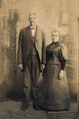 "Thomas Marshal Jones, left, of Hanover, was one of the tallest men in the Civil War at 7' 6"". He is pictures with is wife, Ellen Jacobs."