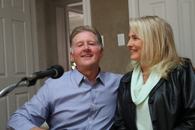 Nick Jenkins, owner of KCCC Radio and his wife Jo Raye are pictured in the station's recording studio, Jan. 5, 2021 in Carlsbad.