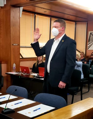 District 2 Eddy County Commissioner Jon Henry is sworn in for his second term on Jan. 5, 2021 by Fifth Judicial District Judge Jane Shuler-Gray.