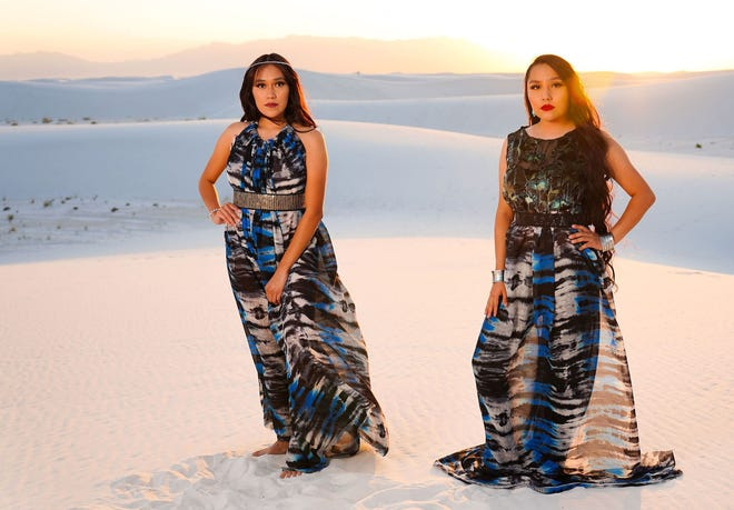 Recent designs by Farmington native Jolonzo Goldtooth are featured during a fashion shoot at White Sands National Park.